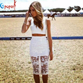 Women Sexy Two Pieces Floral Lace Bandage Dress White Color O-neck Sleeveless Dresses Party New Fashion 2016 Drop Ship HL265