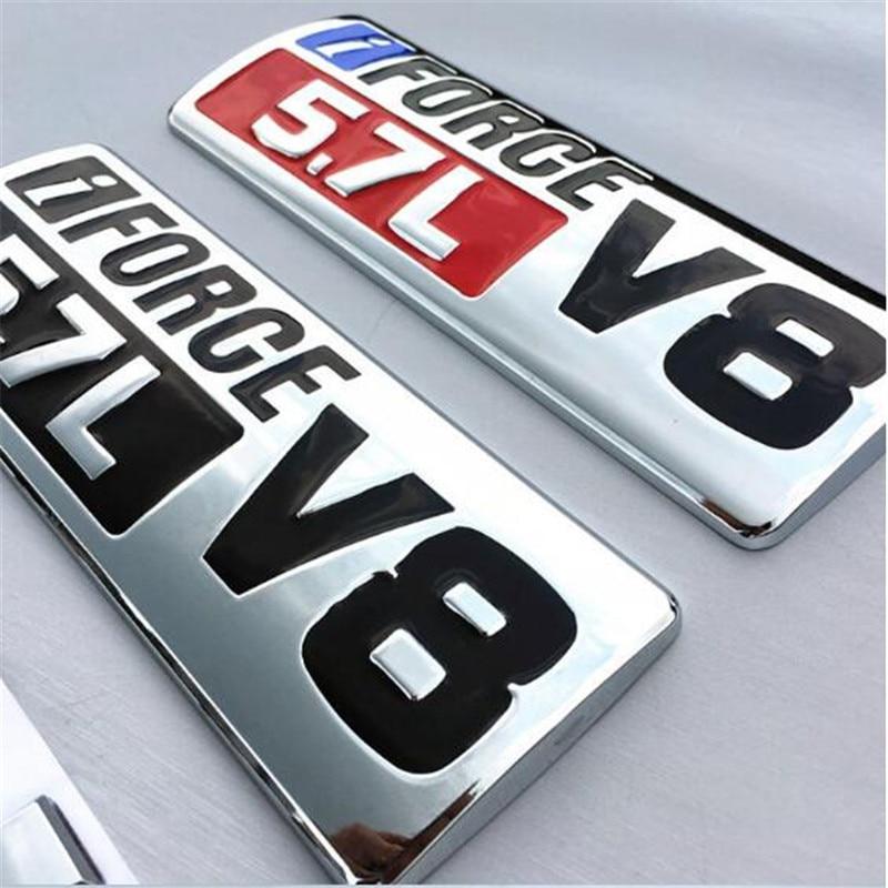 Emblème de garde-boue de voiture | 1 pièce, style de voiture, argent noir rouge métal i Force V8 5,7l, Badges insignes latéraux adapté à Tundra TRD PRO
