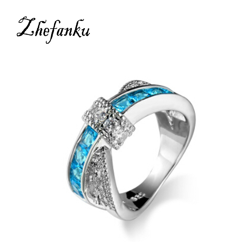 Fashion Cross Finger Ring For Lady Luxury Hot Princess Women Wedding Engagement Ring Color