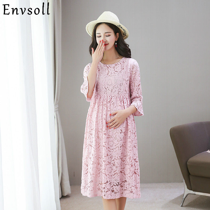 Envsoll 2018 Autumn Maternity Dresses For Pregnant Women Lace Dress Pink Yellow Mid Sleeve Pregnancy Clothes For Pregnant Women