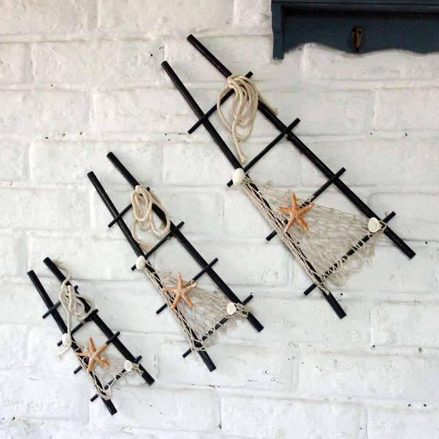 Sets Of Three Mediterranean Decor Decorative Wall Hangings Ladder Diy Creative Handmade Hanging Bar Can