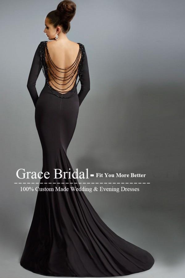 9e156bff2f vestidos de festa Scoop Long Sleeve Beading Backless Black Evening Dresses  Long Mermaid Prom Dress Modest Formal Gowns-in Evening Dresses from  Weddings ...