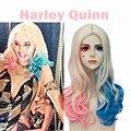 Fiesta de navidad ECVTOP Comando Suicida Accesorios Harley Quinn Traje Peluca Ombre Dos tonos Peluca Ponytails Para Adultos
