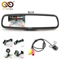 Sinairyu Car Rear View Kit 4.3 LCD Mirror Monitor + Reverse Backup Parking Camera, Interior Replacement Mirror + OEM Bracket