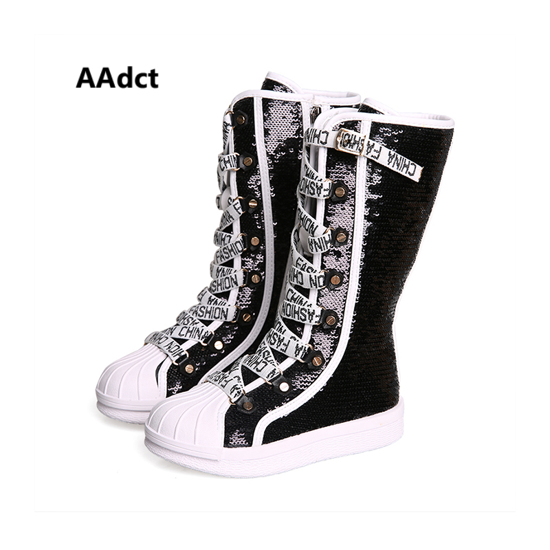 AAdct High boots princess for glitter girls Flats single kids boots 2018 New children's boots spring and autumn Non slip