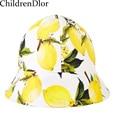 Niñas sombrero del cubo 2017 marca sombreros de verano para niños chica cap lemon imprimir sombreros del sol del bebé cap diseñador beach floppy sombreros para niños