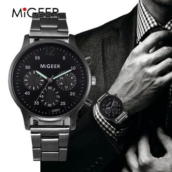 MIGEER Male Clocks Men Top Luxury Brand Hot Design Military Sports Wrist Watches Men Crystal Stainless Steel Quartz Watch reloj image