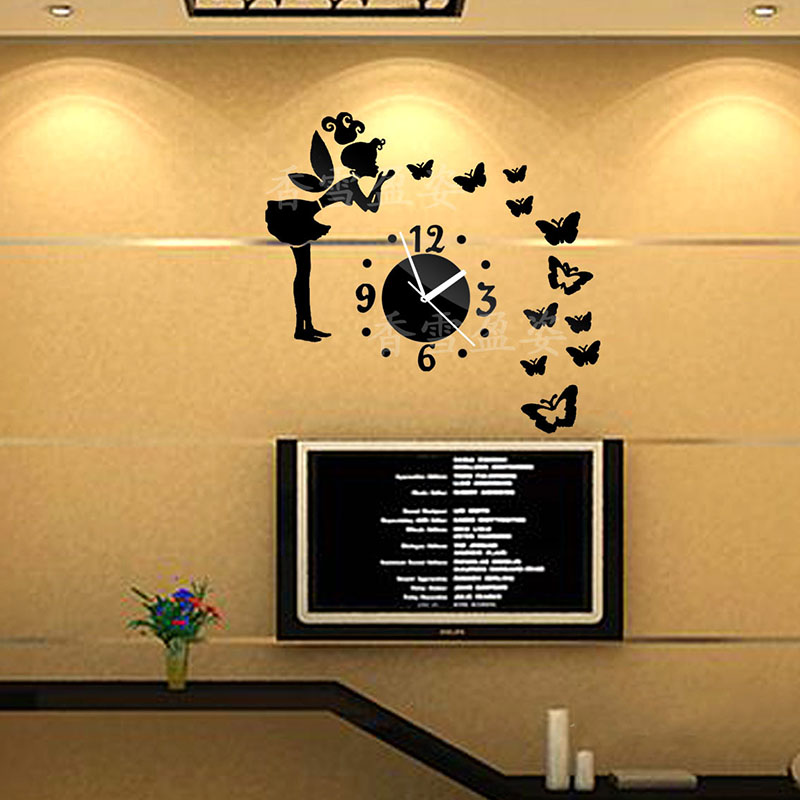 Little fairy 2016 New Modern 3d <font><b>Home</b></font> <font><b>Decor</b></font> Quartz DIY Wall Clock Clocks Horloge Watch Living Room <font><b>Elegant</b></font> Designed Freeshiipping