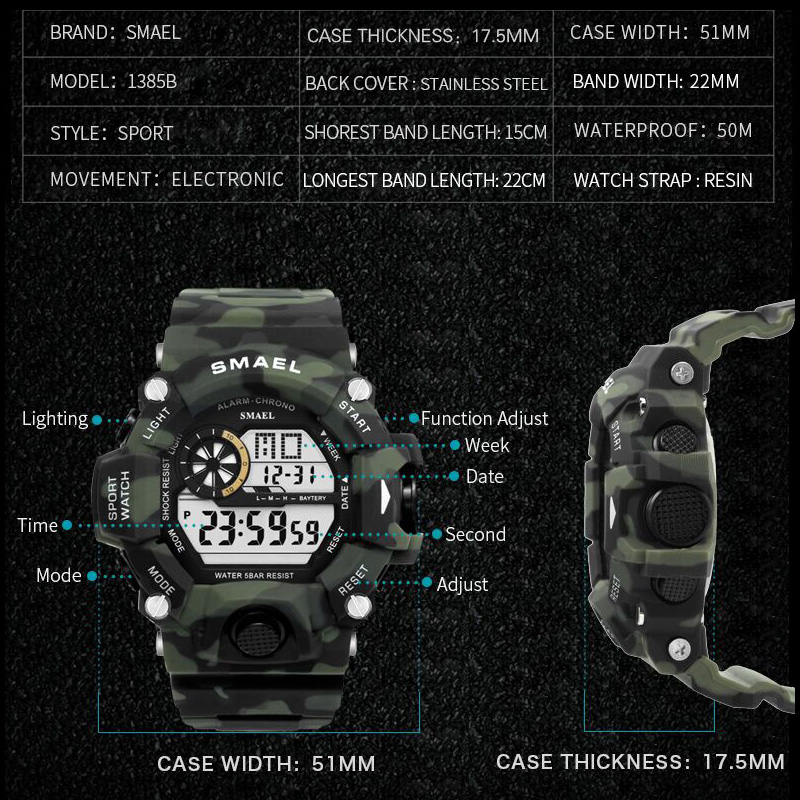 Image 3 - Sport Quartz Digital Watches Male Watch SMAEL Sport Watch Men Waterproof relogio masculino Clock White Digital Military Watches-in Sports Watches from Watches