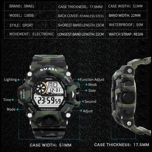 Image 3 - Zegarki męski zegarek cyfrowy biały zegarek sportowy SMAEL 50M wodoodporny Auto data relogio masculino cyfrowe zegarki wojskowe męskie sportowe