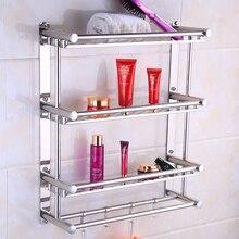 304, нержавеющая сталь, 3 слоя, полка для ванной комнаты, шампунь, мыло, косметические полки, аксессуары для ванной комнаты с крюком для халата, настенное крепление