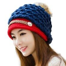 2017 Elegant Women Knitted Hats Wool Cap Autumn Winter Ladies Female Fashion Skullies Warm Hat Skullies Outdoor Knit Beanies