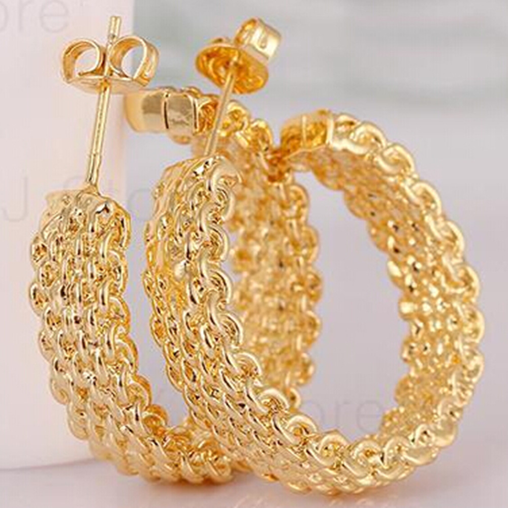 for goldplated online married gold three jewelry plated package with product store huggie bride alluvial hoop new price through spike earrings