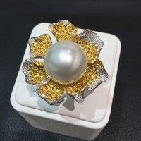 15 MM southsea perla anillo 18 K oro anillo de perlas naturales con flores de diamantes de envío libre acepta orden cualquier tamaño de la anillo