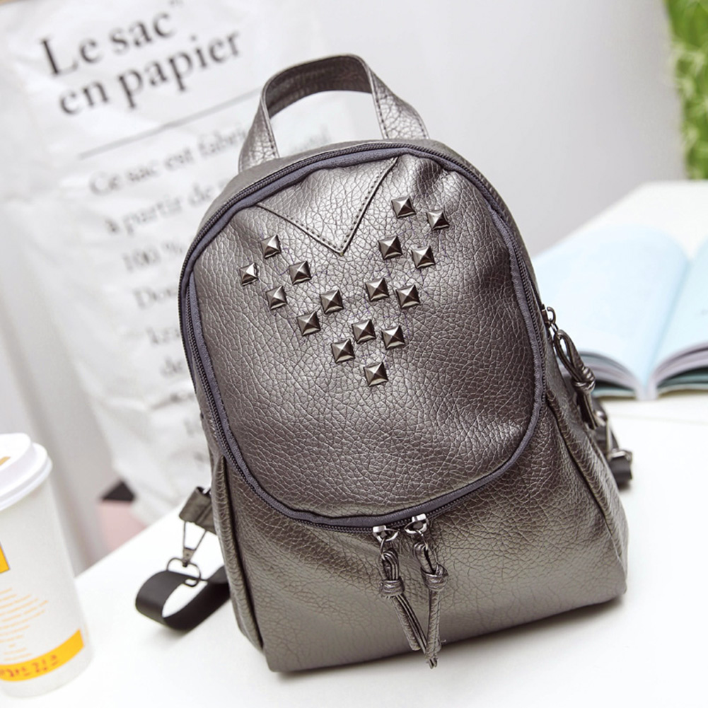 2017 New Rivet Backpack Women Leather Female Bagpack Lady Backpacks for Teenage Girls Schoolbags Small Travel Bolsa Mochila fashion women leather backpacks rivet schoolbags for teenage girls female bagpack lady small travel backpack mochila black bags