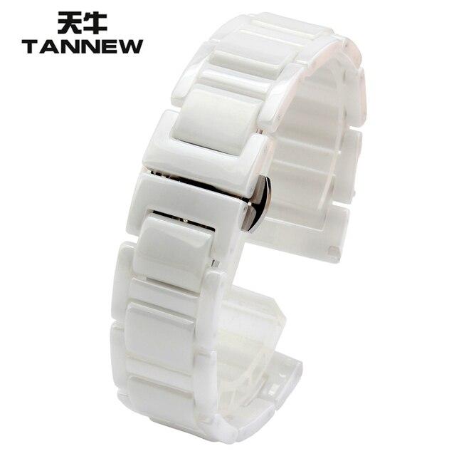 Wit horloge accessoires keramische horlogeband 14mm 16mm 18mm 20mm