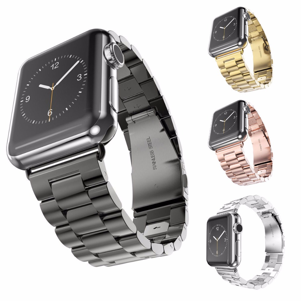 HENGRC Rustfritt stål Armbånd For Apple Watch Strap Link Armbånd 38mm 42mm Smart Watch Metal Band For Iatch Accessories