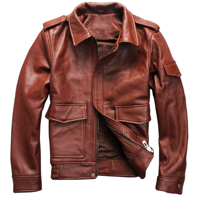 READ THE DESCRIPTION ! mens genuine cow leather jacket vintage genuine cowhide leather G1 jacket S1441