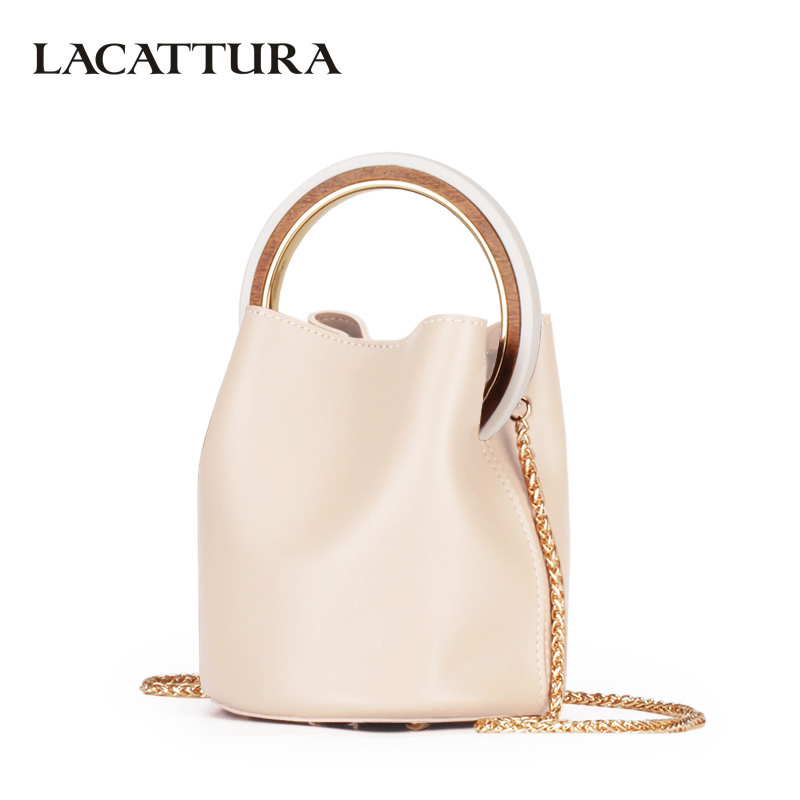 LACATTURA Luxury Handbag Designer Wristlets Women Leather Shoulder Bucket Bag Fashion Messenger Bags Lady Small Tote Cross body