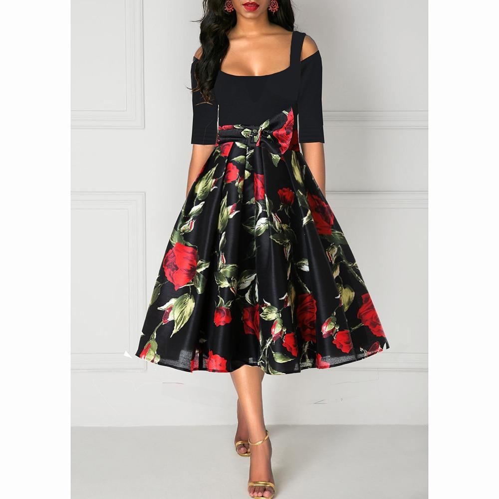 M-4XL Women Floral Print High Waist Vintage Dress 2019 Summer Retro Elegant Short Sleeve A-Line Dresses vestidos H30