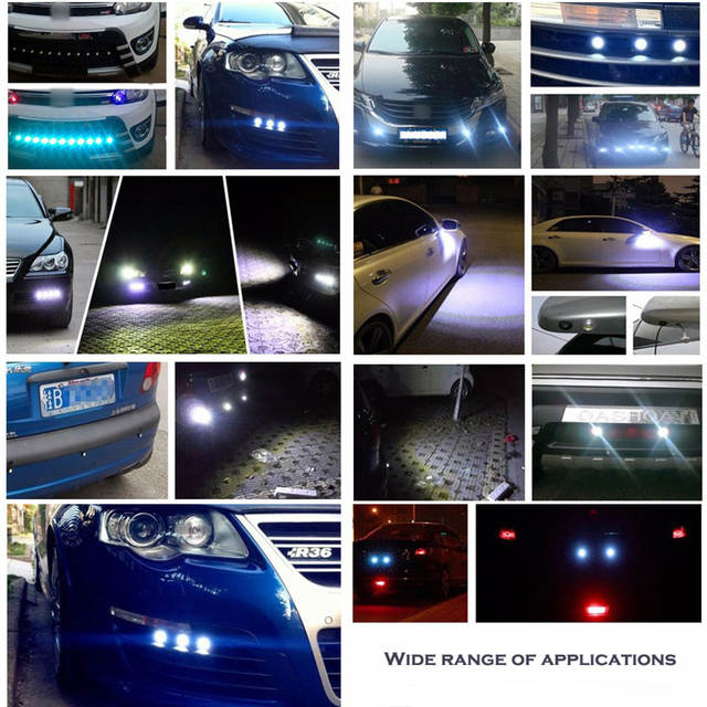 LEADTOPS 10-pack DIY 12V Ultra thin Fog Tail Eagle Eye Car Daytime Running Lights Ice blue light, Silver