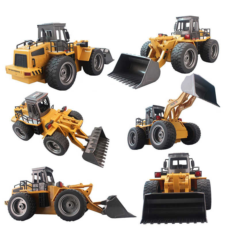 Cargador de pala de aleación de camión RC 6CH 4WD cargador de ruedas Metal Control remoto Bulldozer vehículos de construcción para niños Hobby juguetes regalos