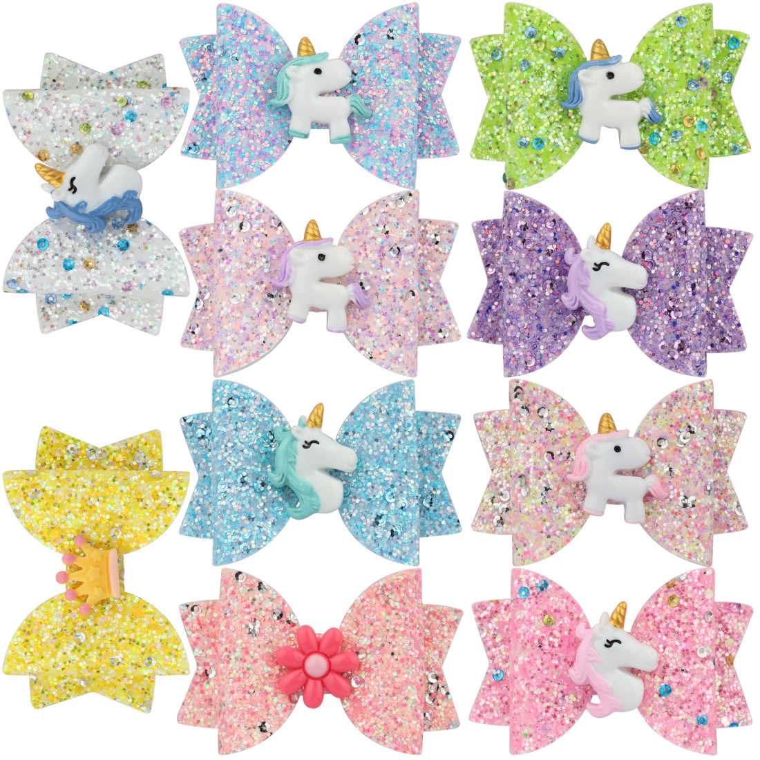 1 PC Girls Glitter Hair Bows Princess Hairpins Kid Barrettes Shiny 3 Inch Unicorn Animal Flamingo Rainbow Children Hair Clips