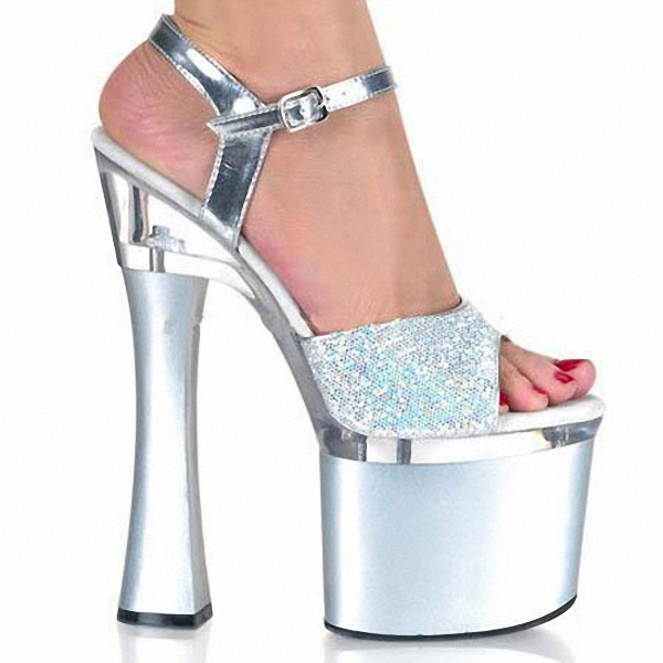 Newest Shining Silver 18CM Sexy Super High Heel Platforms Pole Dance/Performance/Star/Model Shoes, Wedding Shoes stylish sweet lace up 17cm sexy super high heel platforms pole dance performance star model shoes wedding shoes 3 colours