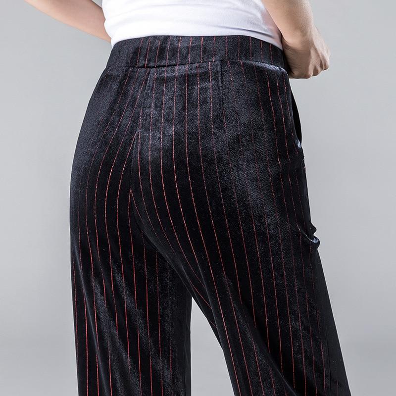 Large Impression Jambe Grand De Or Red Élastique Cordon 2018 Nouvelle Haute Velours Lâche Femmes Black Drapé Arrivée Stripes Mode Pantalon Taille qYTYPO4