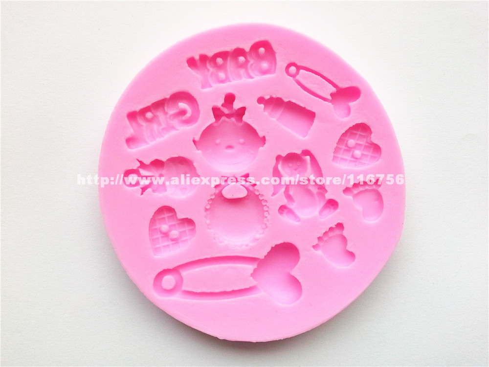 Free Shipping Flower Shaped Silicone Mold Cake Decoration Fondant Cake 3D Food Grade Silicone Mould Safety Pin 178
