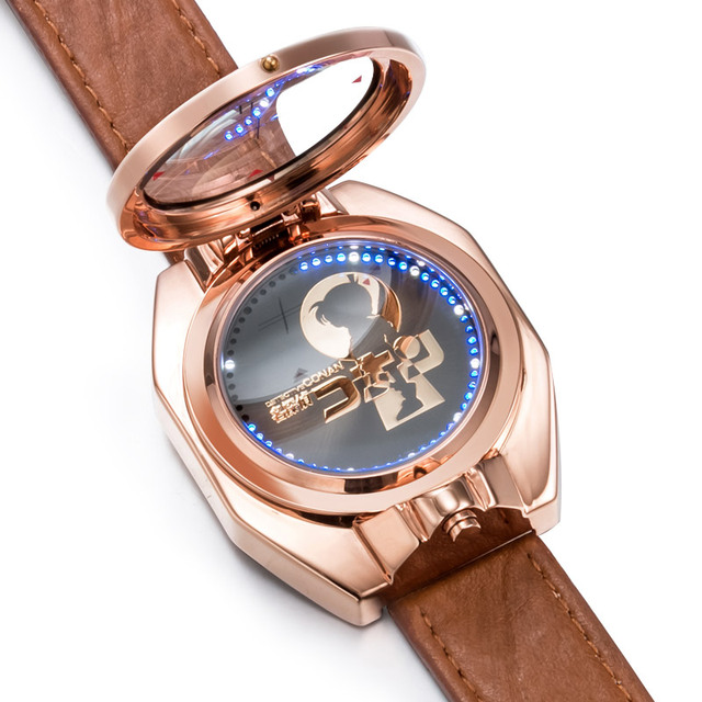 Detective Conan Top Brand Luxury Xingyunshi rose gold Laser flip LED Digital Wristwatches Relojes Hombre Clock Men Watches