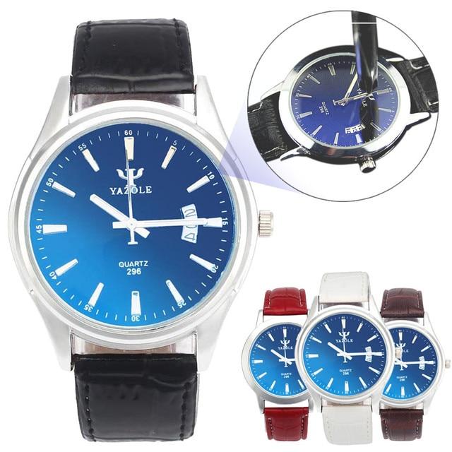 YAZOLE Mens women watches cheap Waterproof Date Wristwatches Leather Strap Blue