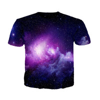 Cloudstyle 2017 Summer T Shirt Man Latest Top Tees Casual Style Purple Galaxy Printing Tshirt Short