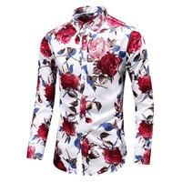 Fashion Floral Mens shirts Long sleeve Plus size S~5XL 6XL 7XL flower shirt men black white red blue men shirt