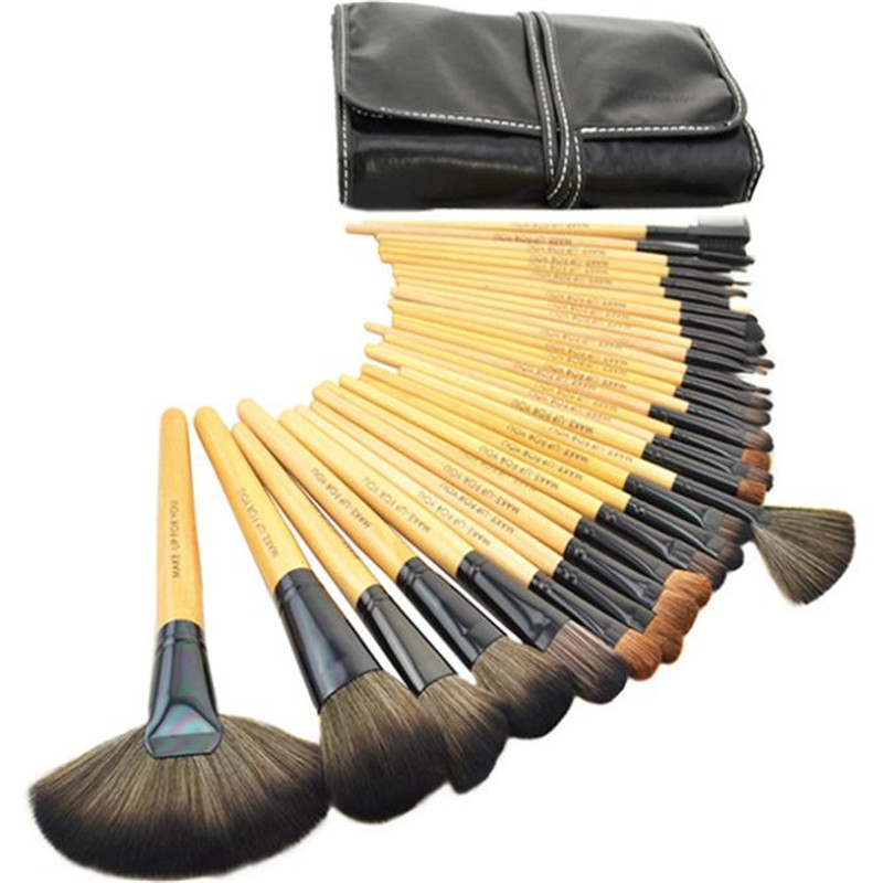 Professional 32 PCS Cosmetic Facial Make up Brush Kit Wool Makeup Brushes Tools Set with Black Leather Case free shipping durable 32pcs soft makeup brushes professional cosmetic make up brush set