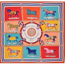 130*130CM HOT women silk scarf big size printed horses square good quality scarves pashmina fashion headscarf