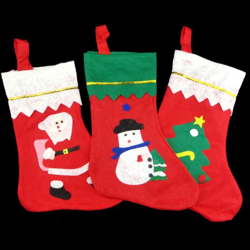 Precioso Rojo Medias De Navidad Calcetines Bolsa de Santa Claus Regalos Dulces á