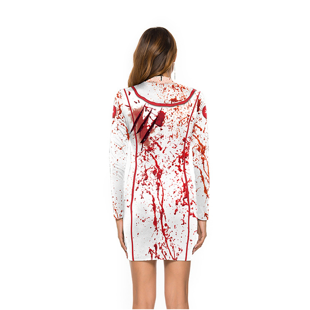 Bloody Nurse Role-play Dress for Women Halloween Scary Horror Cosplay Costumes Sexy Mini Dress Gothic Medieval Clothing 1