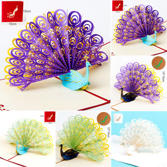 universal 2018 card stock 3d pop up peacock cards wedding lover