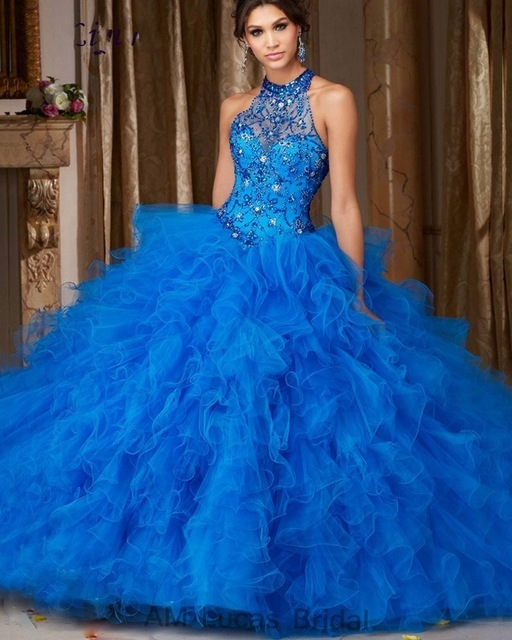 Azul Cheap Quinceanera 2017 Vestido de Baile Halter Frisada Pedrinhas Longo Doce 16 Anos Vestidos de Festa Vestido De 15 Años