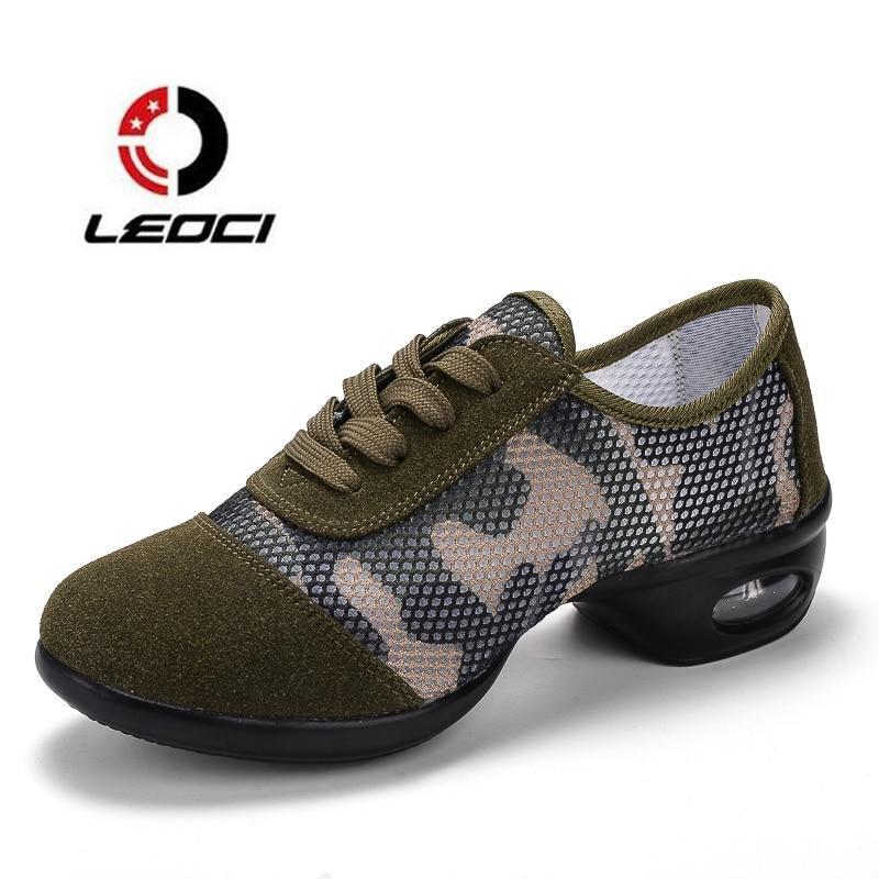 Camouflage Women Modern Dance Sneakers Teachers Jazz font b Salsa b font Med Heels Platform Dancing
