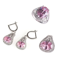 Fleure Esme wedding jewelry sets(ring/earring/pendant) Rainbow Pink Purple Cubic Zirconia Rhodium plated R543set R546set R701set