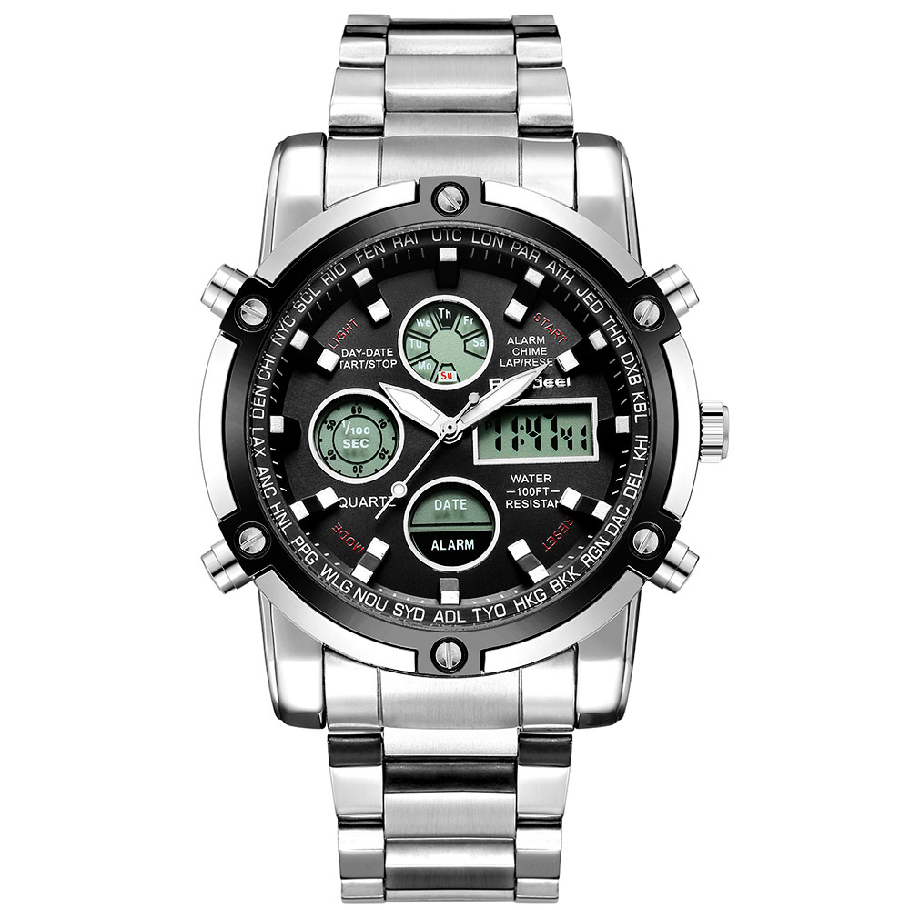 Men's Watch Full Steel Waterproof Watch Analog Digital 1