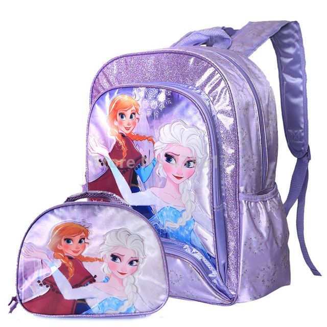 480cb08e7fd New Fashion Elsa Anna Princess Girls School Bag With Lunch Set For Children  Elementary Primary School Backpack Bags
