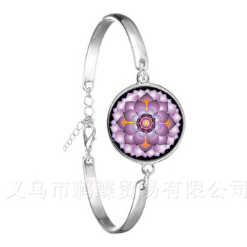 2018 New 18mm Glass Cabochon Bracelet Mandala Lotus Om Symbol Buddhism Zen Henna Yoga Chain Bangel Jewelry For Women Men Gift image