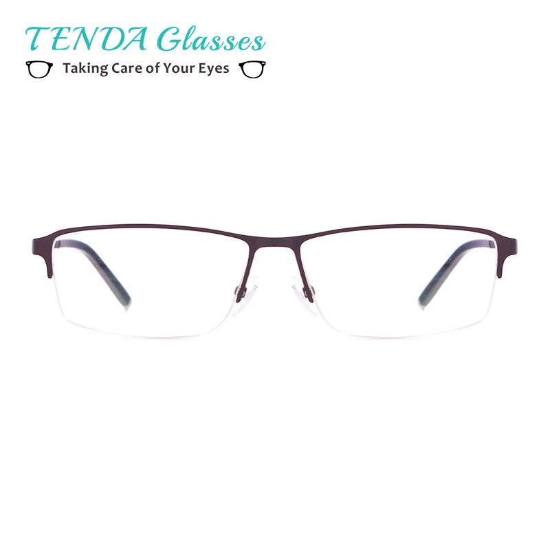 Men's Glasses Men's Eyewear Frames Eyewear Myopia Eyewear Frame Business Design Men Half Rim Alloy Brand Black Silver Clear Lens Spectacle Eyeglasses Zm8190