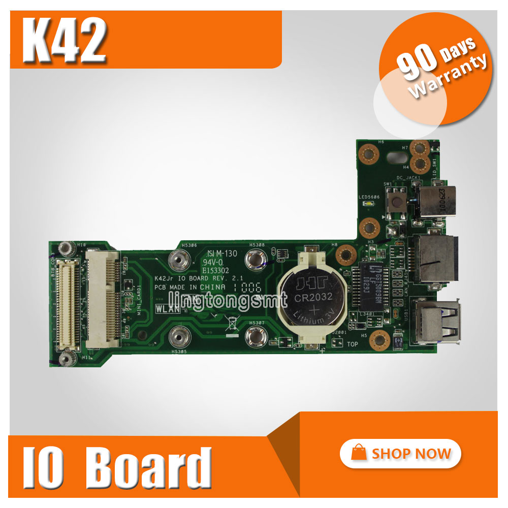 K42JR REV:2.1/K42JC REV:2.1 IO BOARD For Asus K42J X42J A42J A40J K42JC K42JR K42JZ K42JY K42JV X42D K42D K42F POWER USB BOARD jianglun for asus k42j k42jr k42dr k42jc k42f dc power jack io wlan pcb board 60 n09io1000 b2