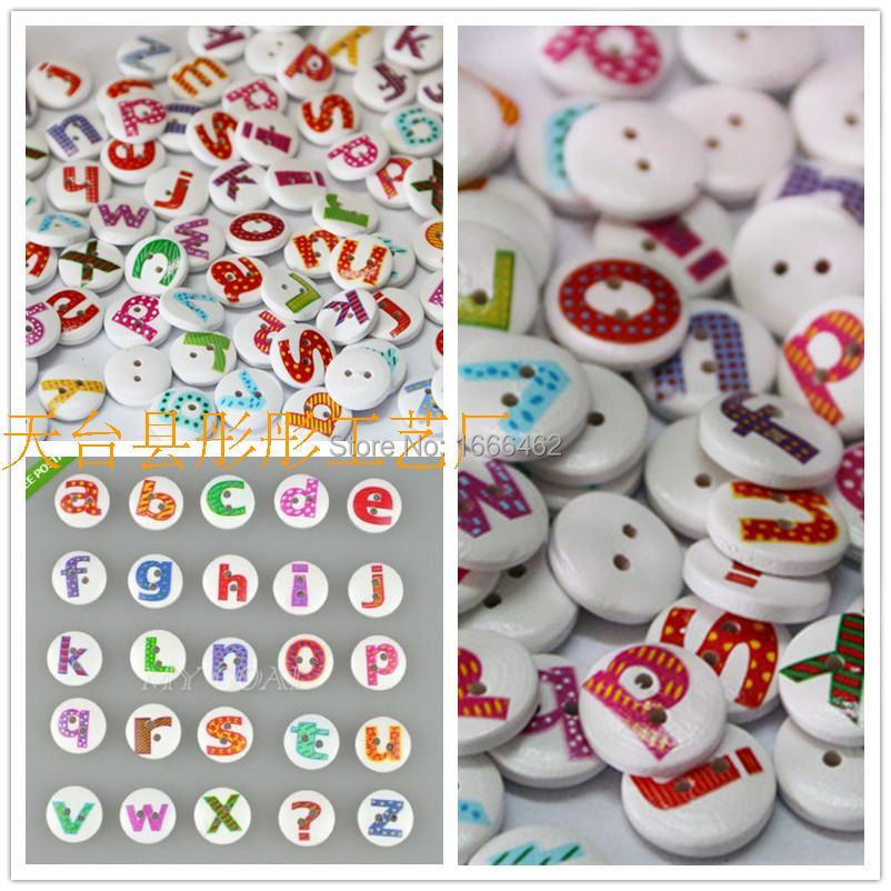 200Pcs 2 Holes Mixed Painted Letter Alphabet Round Wooden Sewing Button Children Kids Scrapbooking Decor 1.5cm