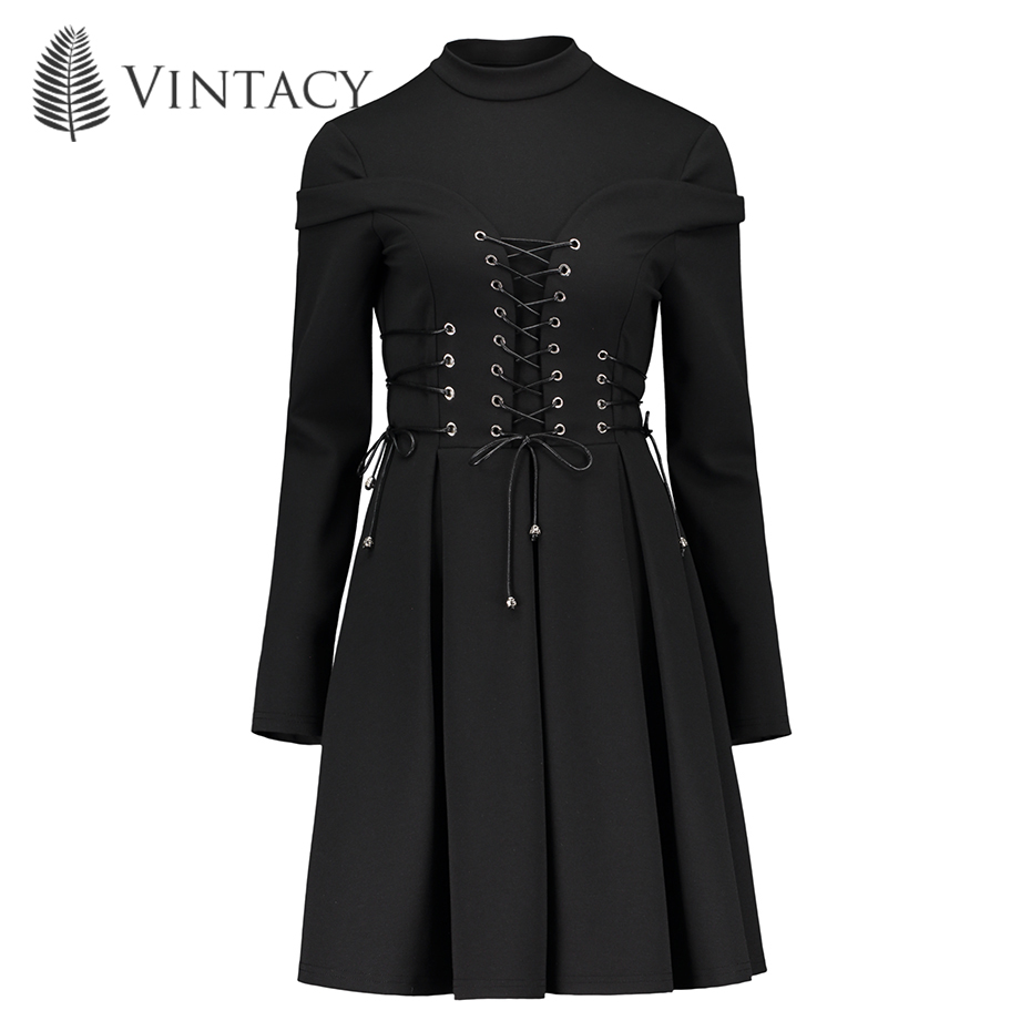 Women Black Winter Dress Autumn Long Sleeve A-Line Pleated Mini Dress Gothic Style Goth Patchwork Bandage Lace Up Vintage Dress