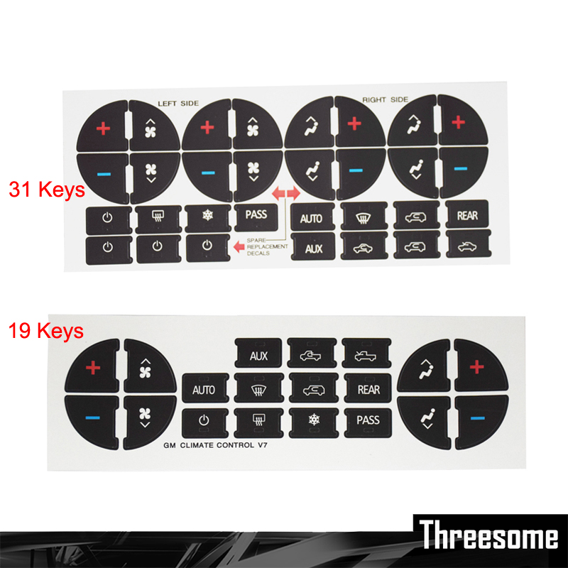 SRXTZM Car Styling AC Dash Button Sticker Repair For GMC Acadia Sierra  Yukon For Chevy Avalanche Silverado Suburban 1pcs